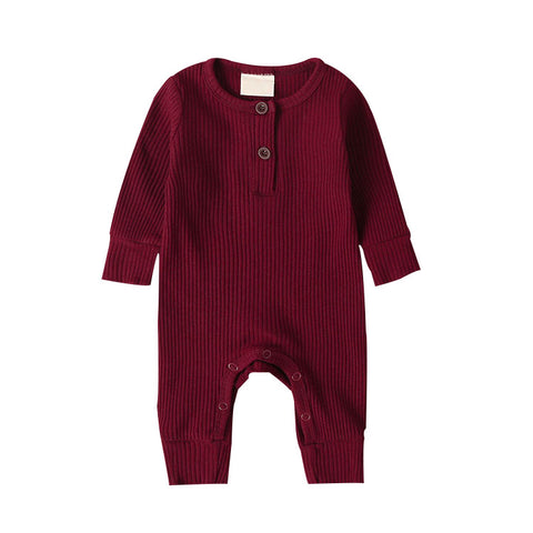 LR0028B Solid Ribbed Baby Romper Burgundy