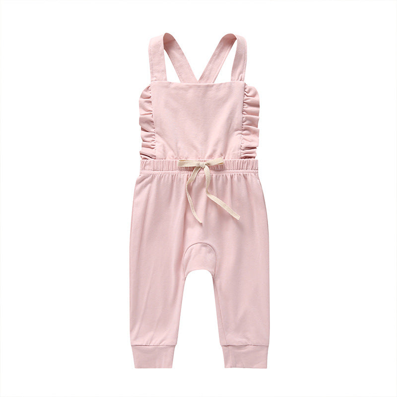 LR0030B Cotton Knit Overalls with Waisted Bow Tie Pink