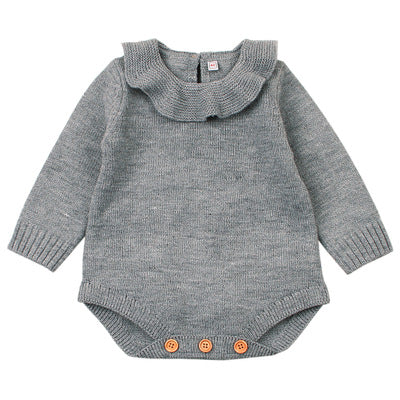Ruffle Collar Knitted Warm Baby Romper Grey