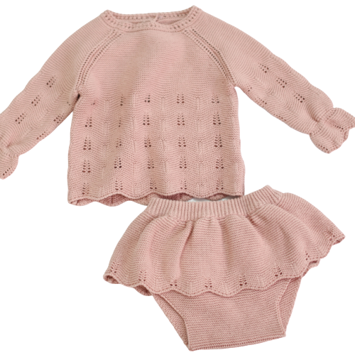 Pink Knit Sweater Set (1-2T)