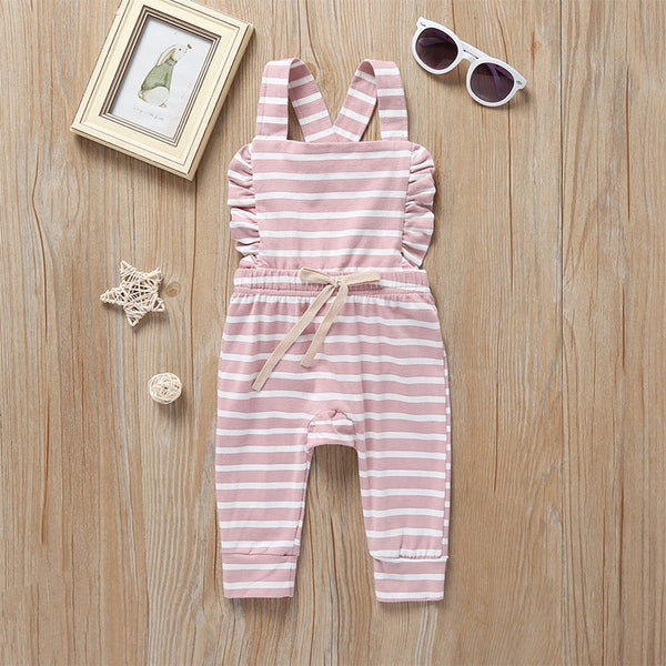 LR0030D Cotton Knit Overalls with Waisted Bow Tie Pink with White Stripes