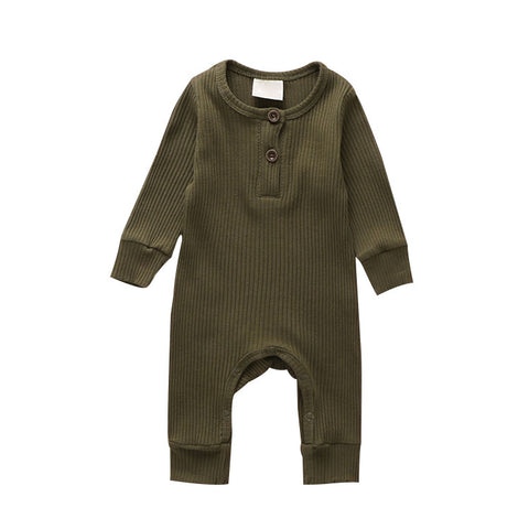 LR0028C Solid Ribbed Baby Romper Forest Green