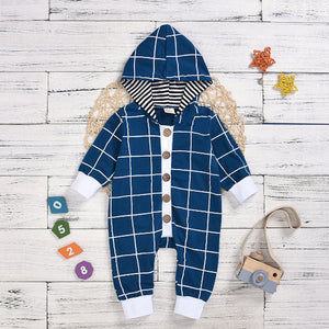 LR0026B Button Down Boy's Hooded Checked Romper Teal