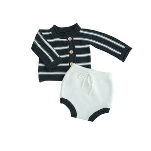 LR0023B Knit Striped Button Down Two Color Baby Set