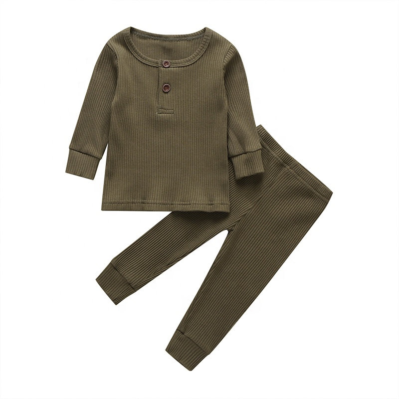 solid simple ribbed baby pajamas set
