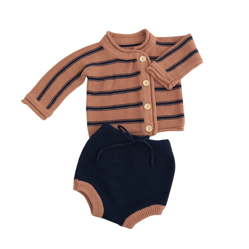 LR0023A Knit Striped Button Down Two Color Baby Set