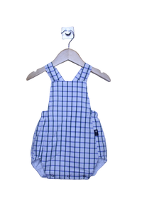 LR0015 Blue and Green Checked Heirloom Bubble Romper (6-9 mo.)