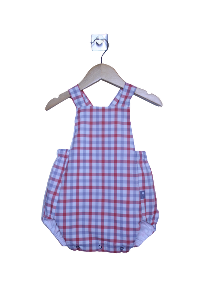 LR0015 Grey and Orange Checked Heirloom Bubble Romper