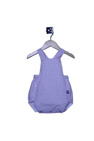 LR0015 Pink and White Checked Heirloom Bubble Romper