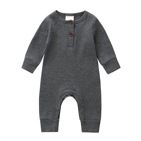 LR0028E Solid Ribbed Baby Romper Grey