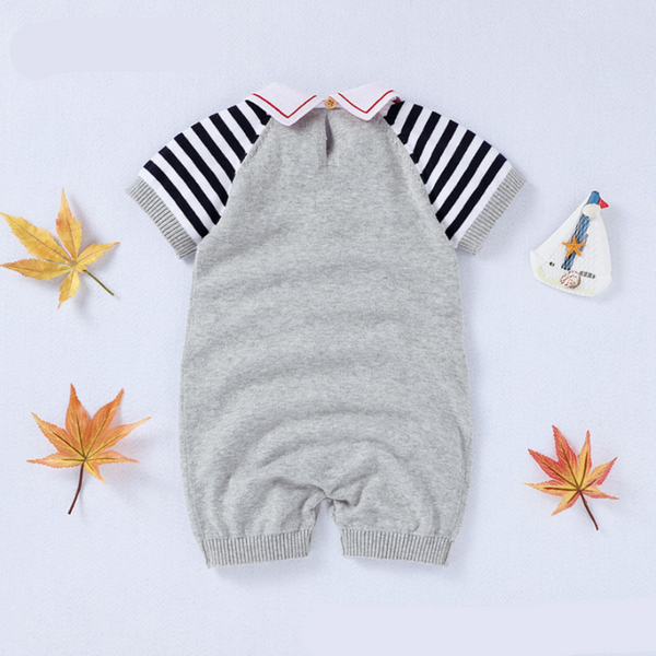 LR0010B Sailboat Knit Romper Grey