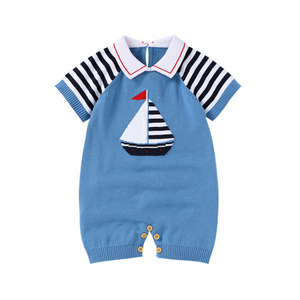 baby blue knit romper with sailboat design