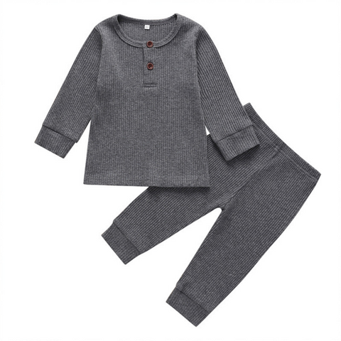 simple solid ribbed baby pajamas set