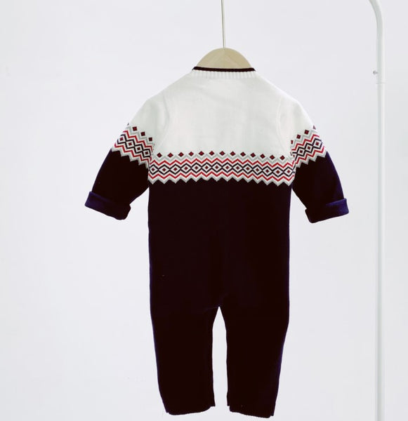 knitted baby boy romper