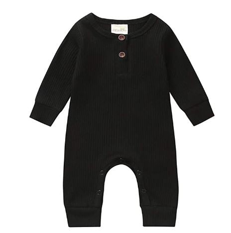 LR0028A Solid Ribbed Baby Romper Black