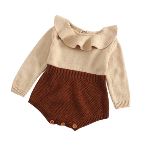 LR0024 Two Tone Baby Girl Romper with Ruffled Collar