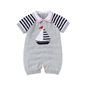 sailboat design gray knit romper