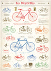 "Cavallini Wall Art / Wrapping Paper. Les Bicyclettes. Printed on Archival Quality, Italian Laid Paper. 27"" x 19""."