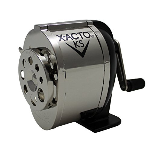 X-ACTO Ranger 1031 Wall Mount Manual Pencil Sharpener,Silver/Black