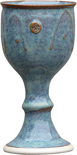 Wine Goblet Hand-Thrown Hand-Glazed with Celtic Stamp (Made in Ireland)