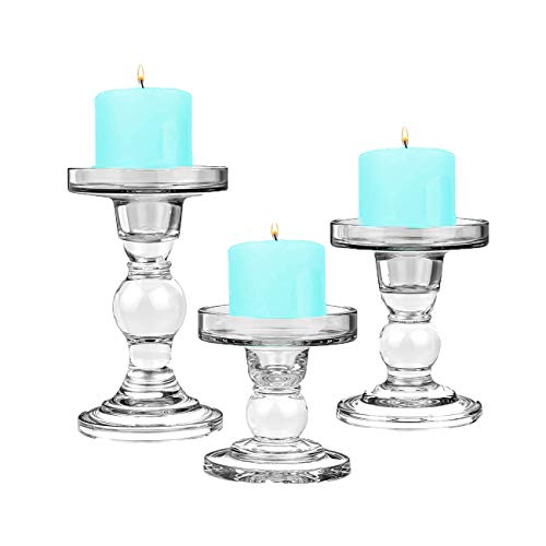 "Glass Candle Holders for 3"" Pillar Candle and 3/4"" Taper Candle"