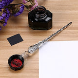 BTSKY Handmade Glass Dip Pen Glass Vintage Signature Pen Black