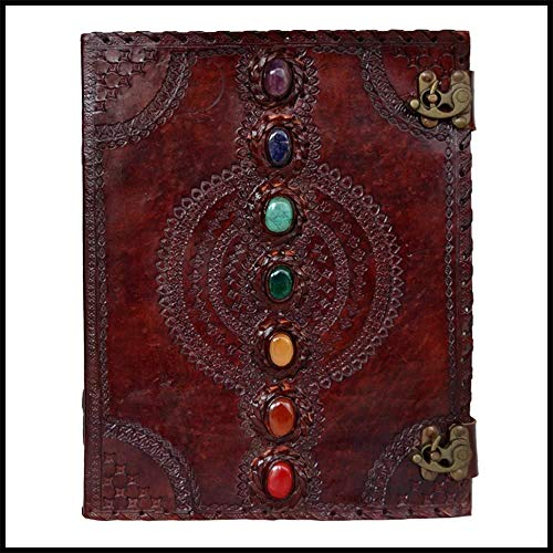 Seven Chakra Medieval Stone Embossed Leather Journal