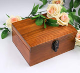 Vintage Handmade Wood Box with Lock and Key