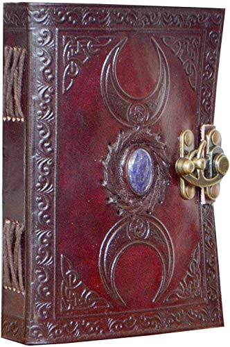 Handmade Leather Diary Embossed with Stone