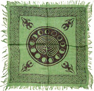 "Tarot/Altar Cloth - Celtic Design with Goddess and Phases of The Moon - 18""x 18""."