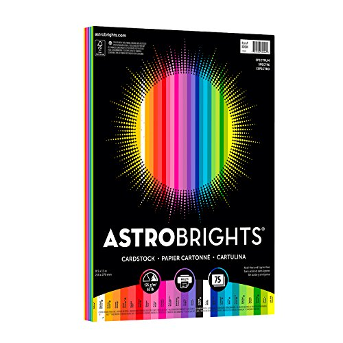 "Astrobrights Colored Cardstock, 8.5"" x 11"", 65 lb / 176 gsm, ""Spectrum"" 25-Color Assortment, 75 Sheets (80944-01)"