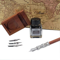GC Antique Wooden Stem Pen Handcrafted Calligraphy Pen Set Dip Nib Pens-Writing Case With Black Ink Pen Wooden Holder Cartridges LL-182