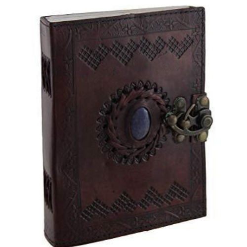 Embossed Leather Blue Stone 120 Page Unlined Journal with Clasp (Brown)