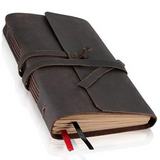 Handmade Leather Bound Writing Notebook - LINED