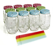 Load image into Gallery viewer, Wilko Drinking Jars with Reusable Straws (450 ml, 12 pc)