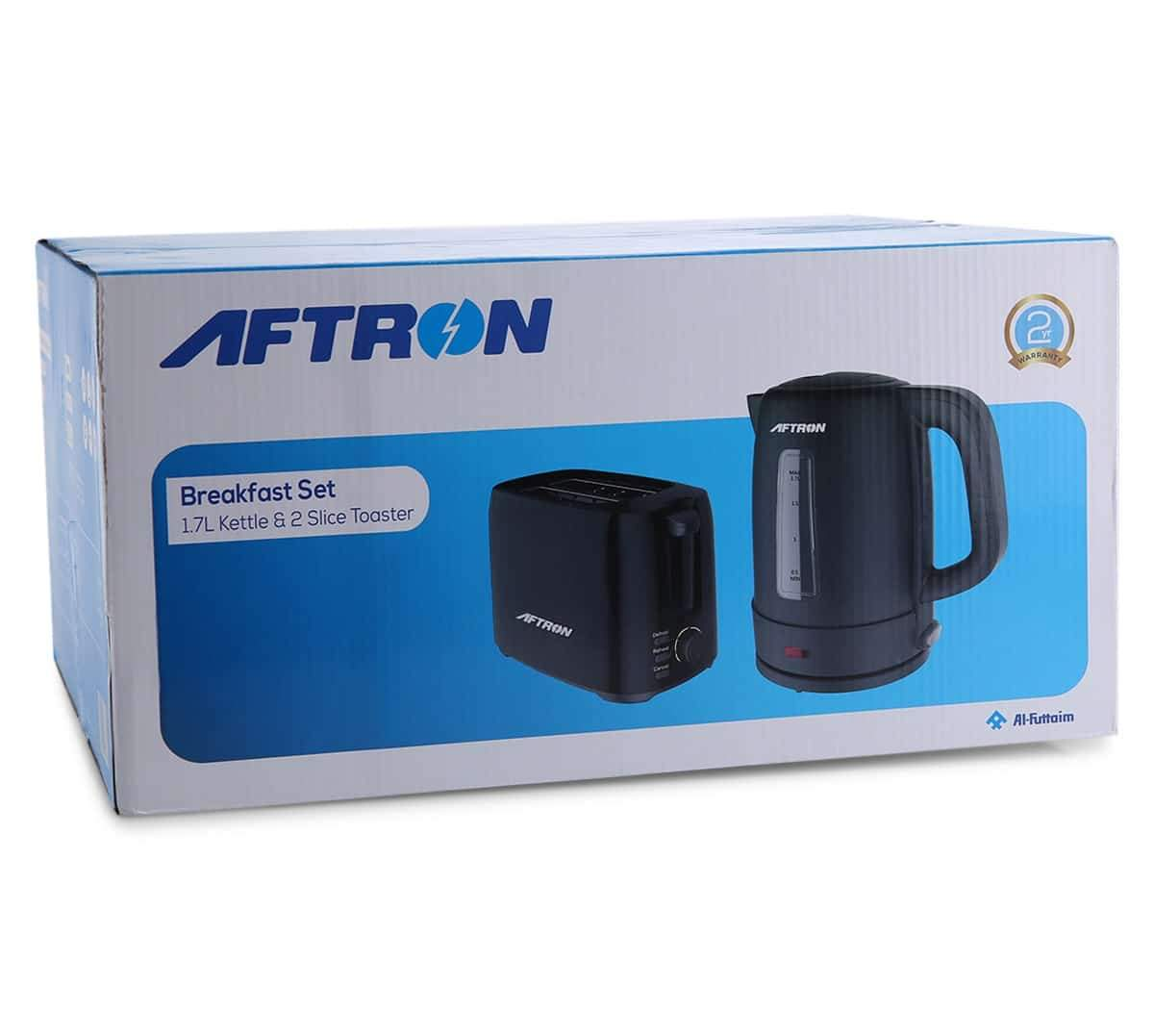 Aftron Breakfast Set -  1.7L Kettle & 2 Slice Toaster (Black)