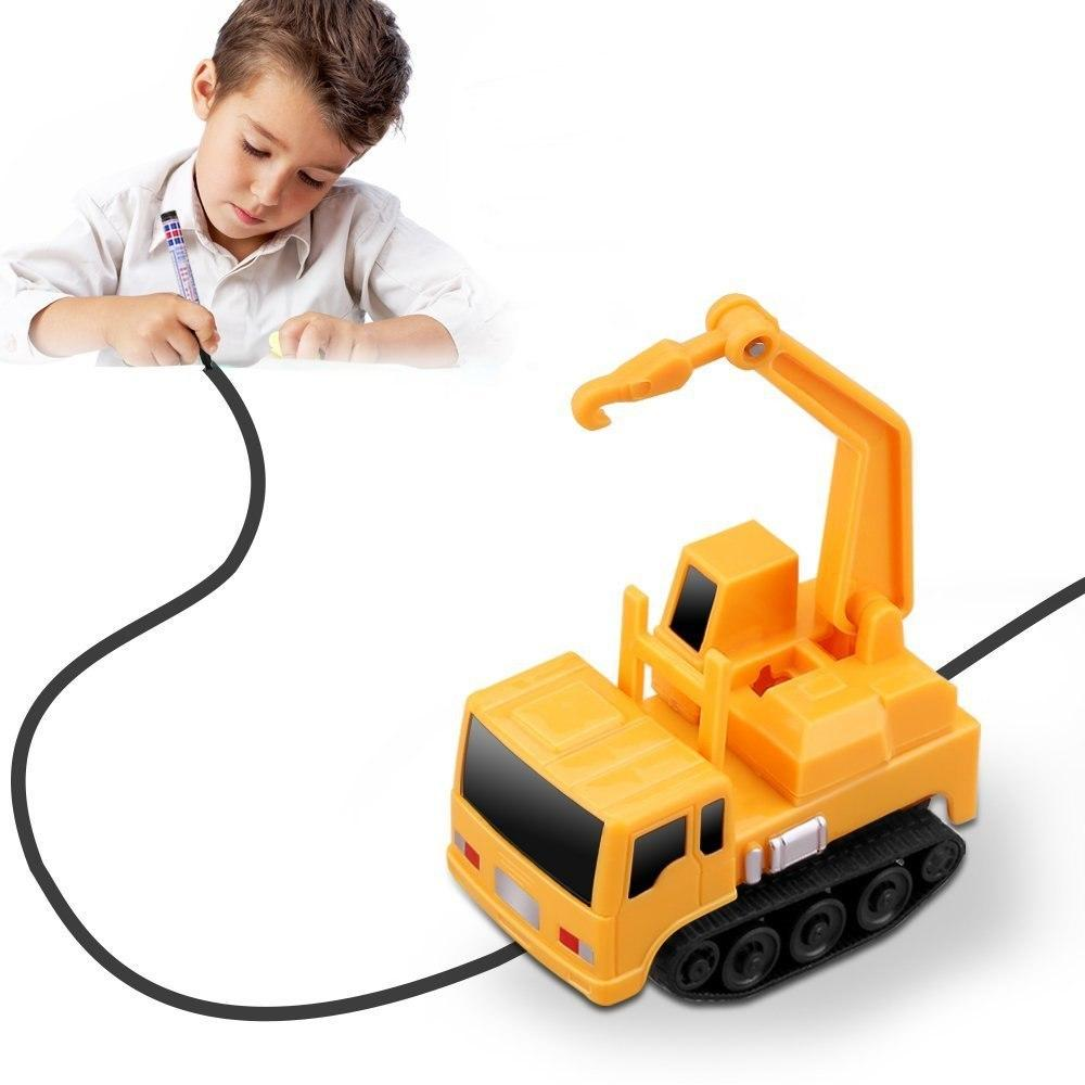 Inductive Truck Toy Inductive Engineering Vehicle Inductive Toy Follow Drawn Black Line for Kids