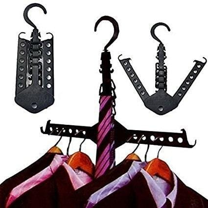 Fashionable Folding Multifunction Magic Hangers Clothes Rack Black - SquareDubai