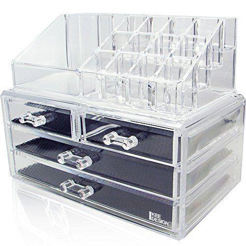 2in1 Acrylic Jewelry and Cosmetic Display Storage Boxes