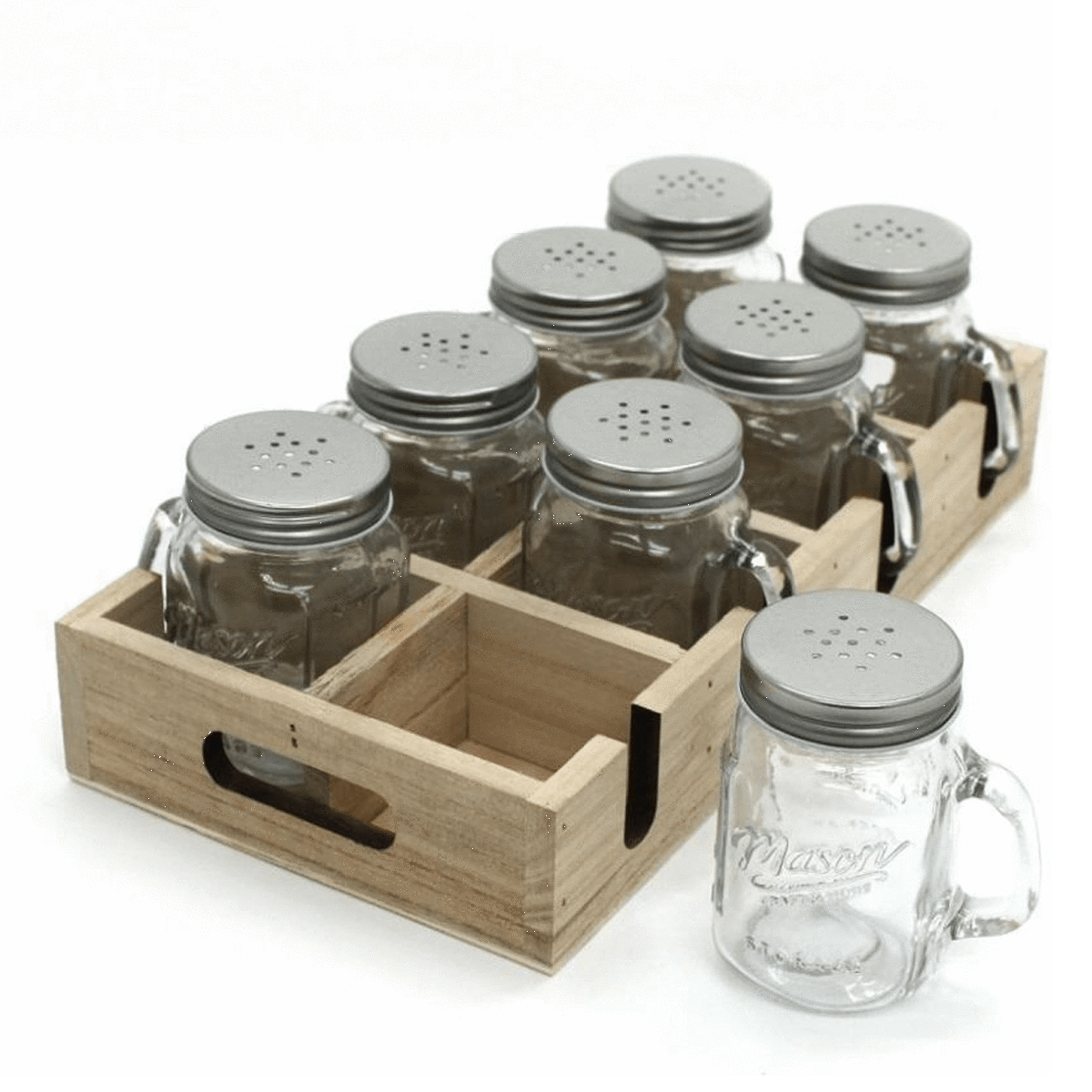 Al Hoora 8pcs Small Glass Jar / Mason Jar With Wooden Box