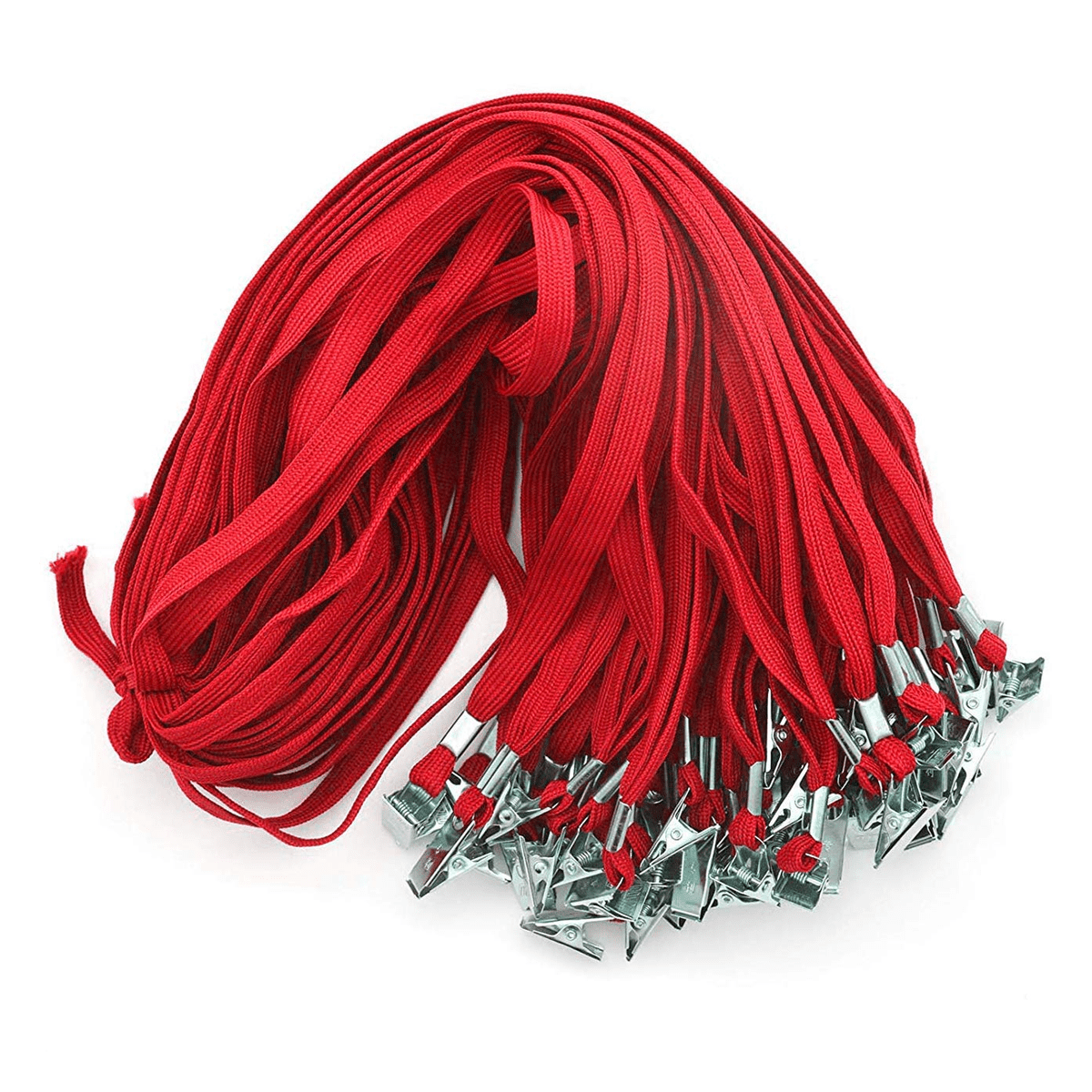 SQUARE 50 PCS 32-Inch Flat Lanyards with Bull Dog Clip