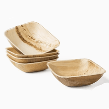 Load image into Gallery viewer, Palm Leaf Bowls - 5.5 inch Square Set of 10