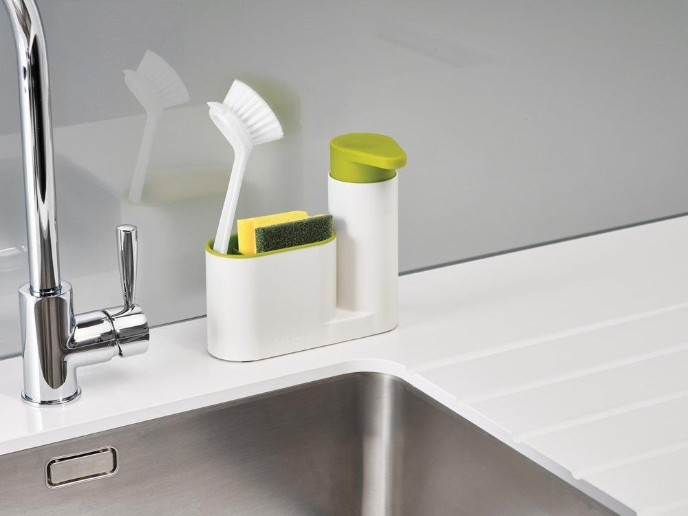 Sink Base Caddy Set with Soap Pump, White/Green