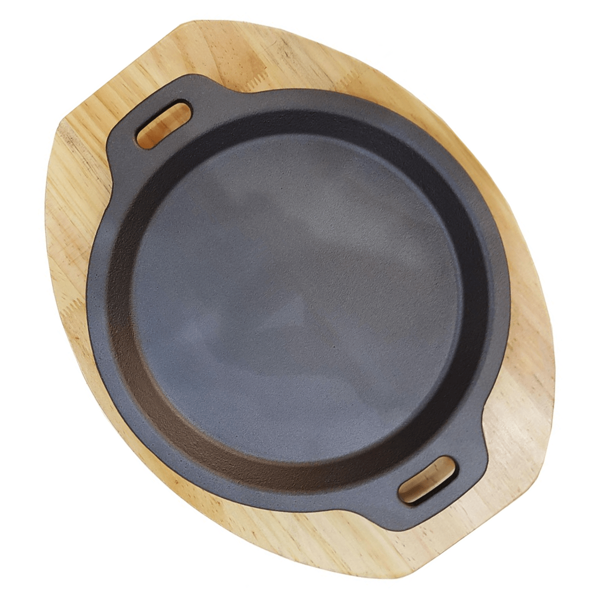 Cast Iron Sizzling Plate with Wooden Base Round - SquareDubai