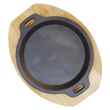 Load image into Gallery viewer, Cast Iron Sizzling Plate with Wooden Base Round - SquareDubai