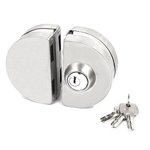 Glass Door Lock Semi Circle With 3 Brass Wave Keys