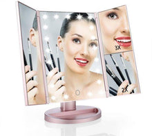 Load image into Gallery viewer, Lighted Vanity Mirror, 21 Super Bright LEDs, Touch Screen Tri-Fold (ROSE GOLD)
