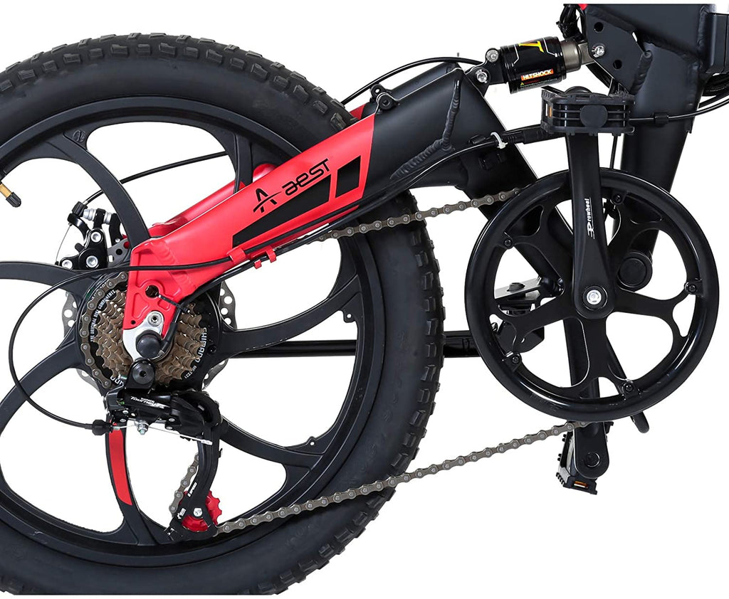 Aest Top730 Folding Electric Bike - Black Red (20 Inch)