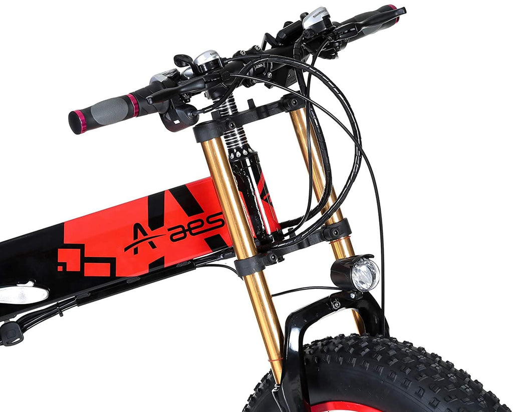 Aest Fat E Folding Bike Black-Red