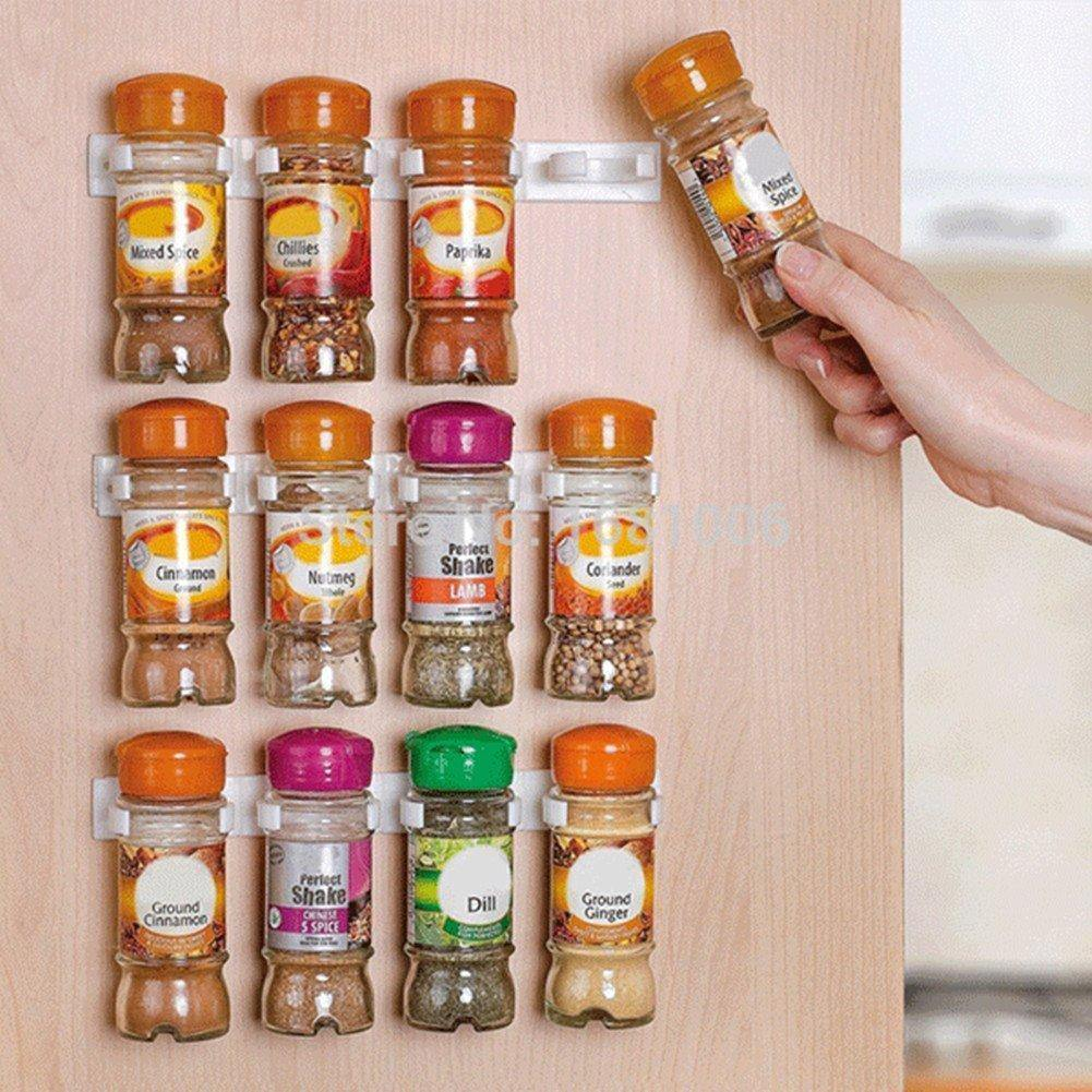 20 Jars Clip n Store Spice kitchen Organizer - 4 Strips x 5 Use Alone or Together - SquareDubai